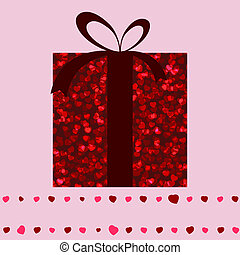 Red gift box and hearts valentine card. EPS 8