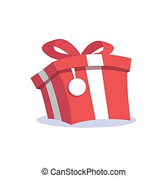 Red gift box and label cartoon icon flat design.