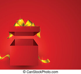 Red gift box background.