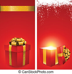 Red gift box banners.