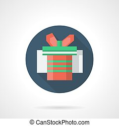 Red gift box blue round flat vector icon