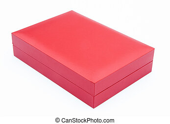 red gift box closed on white background