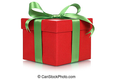 Red gift box for gifts on Christmas, birthday or Valentines day