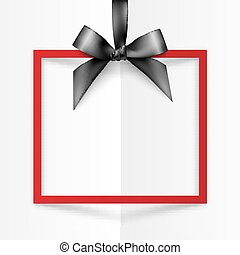 Red gift box frame with black silky bow and ribbon on white folded paper background