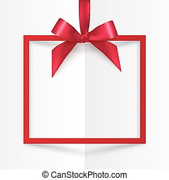 Red gift box frame with silky bow and ribbon on white folded...
