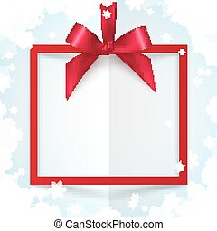 Red gift box frame with silky bow and ribbon on white snowflakes paper background