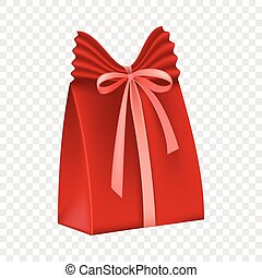 Red gift box icon, flat style