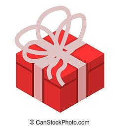 Red gift box icon, isometric style