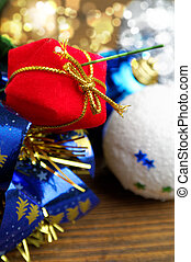 red gift box in the Christmas decoration