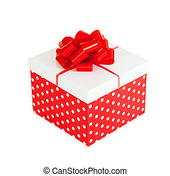 Red gift box isolated on white background with clipping path included