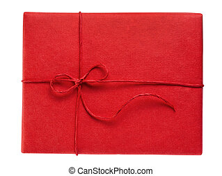 Red gift box, isolated on white