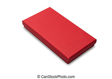 Red gift box mockup isolated on white background with clipping path