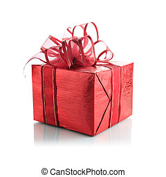 Red gift box on a white background