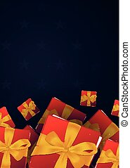 Red gift box on dark background. Vector illustration.