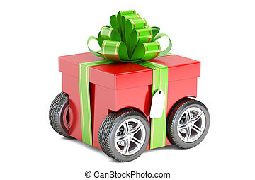 red gift box on wheels, gift delivery concept. 3D rendering