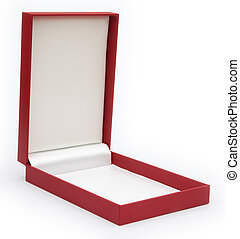 red gift box opened on white background
