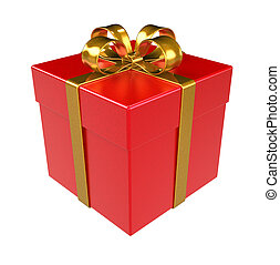 Red Gift Box. Gold ribbon, Isolated.