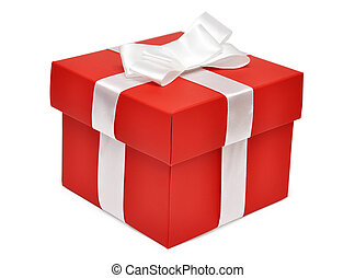 Red gift box with white ribbon over white background