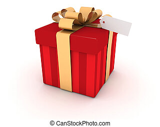 Red gift box Present with tag on white background