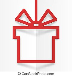 Red gift box silhouette frame with stylized bow