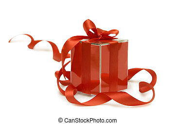 red gift box - Shiny red gift box on a white background