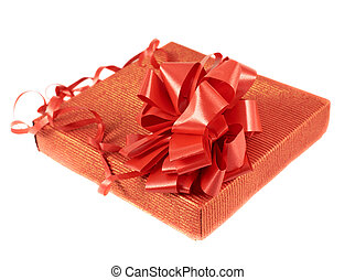 Red gift box with a bow