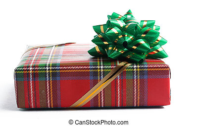red gift box with a green bow