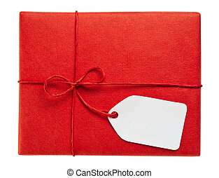 Red gift box with blank gift tag, isolated on white