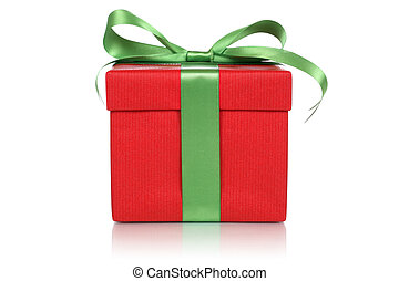 Red gift box with bow for gifts on Christmas, birthday or Valent