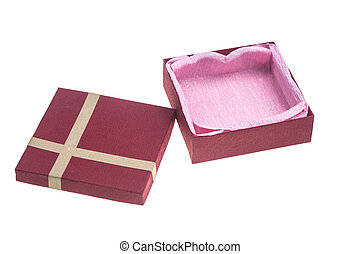 Red gift box with bow isolated on a white background