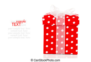 red gift box with bow on white background