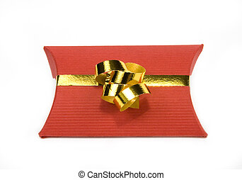 Red gift box with gold ribbon on white background