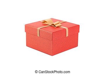 Red gift box with golden bow