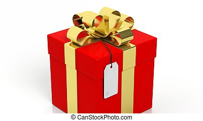 Red gift box with golden ribbon and blank tag isolated on white