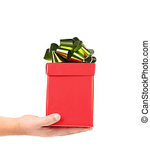 Red gift box with green-golden bow.