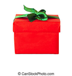 Red gift box with green satin ribbon bow