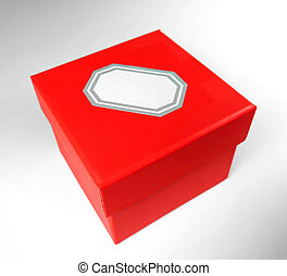 Red gift box with name tag