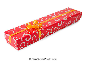 Red gift box with  orange ribbon isolated on the white background