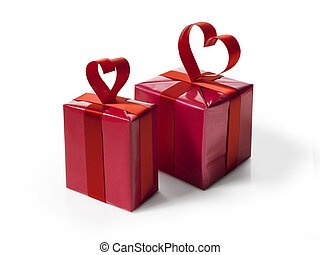 Red gift box with red hart shaped ribbon bow