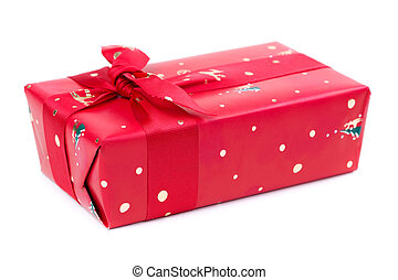 Red gift box with ribbon and bow isolated on the white backgroun