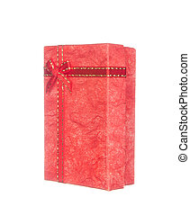 Red gift box with ribbon and bow isolated on white