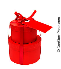 red gift box with ribbon bow isolated on white
