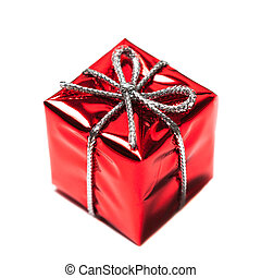 Red gift box with ribbon bow isolated on white background close up