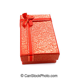 Red gift box with ribbon bow isolated on white background