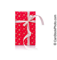 Red gift box with ribbon isolated on a white.