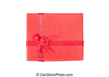 Red gift box with ribbon isolated