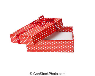 Red gift box with ribbon