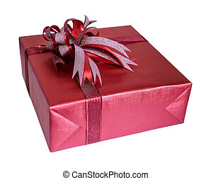 Red gift box with ribbon isolated on white background with clipping path