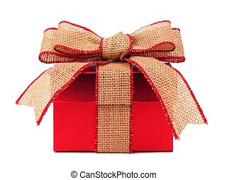 Red gift box with rustic burlap bow and ribbon