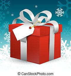 Red Gift Box with Silver Ribbon and Empty Paper Tag on Winter Blue Background with Snowflakes. VEctor Christmas Decoration.